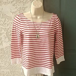 J.Crew Red White Striped Tee Shirt 3/4 Sleeve Sz S